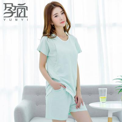月子服夏季短袖短裤孕妇睡衣纯棉薄款产后哺乳期喂奶衣家居服套装