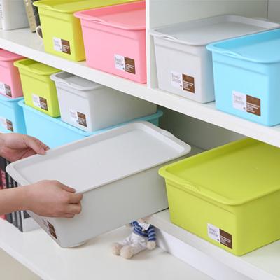 加厚塑料收纳箱有盖整理箱桌面储物箱玩具杂物内衣物化妆品收纳盒