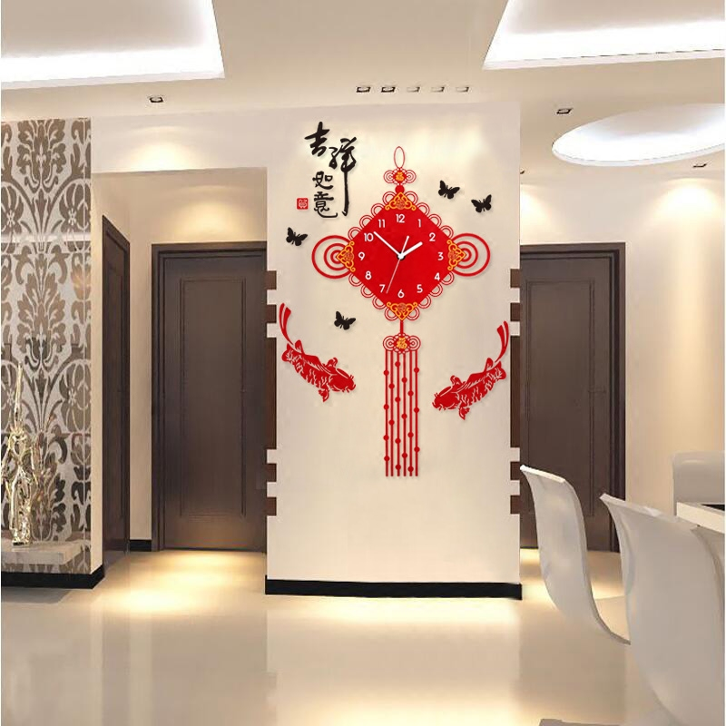 美世达中国结钟表挂钟客厅创意 装饰时尚石英钟中国风时钟现代挂