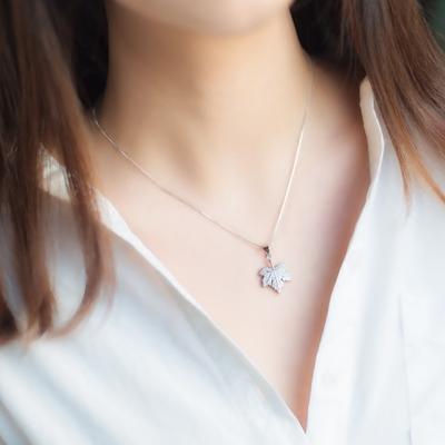 爱洛奇 925银树叶项链吊坠女森系小清新镶钻枫叶项链文艺锁骨链女