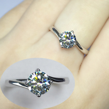 Diamond Ring Four Claw Torsion Arm 50 minutes 1 carat Simulated Diamond Ring Ring Female Ring Marriage Ring Female Simple Atmosphere
