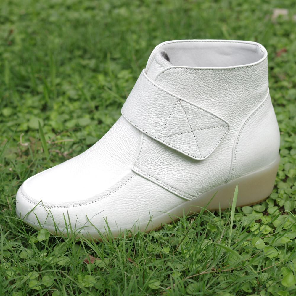 白色真牛皮棉靴