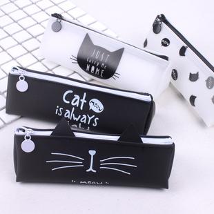 包邮 韩版三角猫咪笔袋硅胶文具袋 韩国女生简约小清新可爱铅笔袋