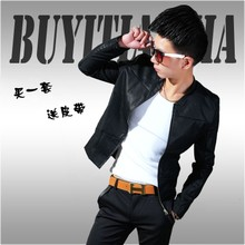 Young new locomotive men's Korean version of self-cultivation men's leather jacket short collar spring and autumn Pu men's jacket trend