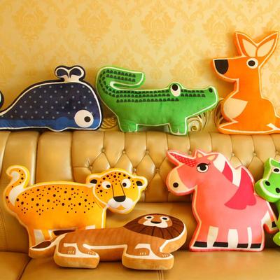 卡通可爱动物狮子大象鲸鱼抱枕沙发靠垫靠枕毛绒玩具男女生日礼物