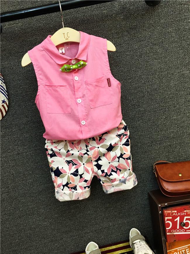 男童宝宝2夏装3套装2017新款4短袖5岁衬衫休闲短裤韩版潮小童套装