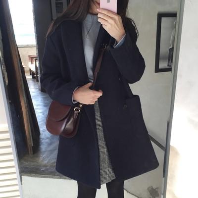 韩版反季秋冬新款学生毛呢子大衣加厚小个子外套大码宽松中长款女