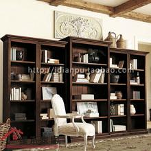 超大组合敞开书柜美式别墅大型开放式纯实木书橱书柜定制定做bc9