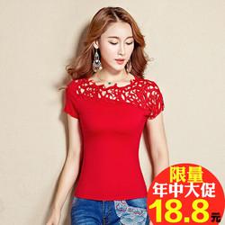 2018新款夏新款民族风蕾丝花边女装短袖T恤女显瘦中国风百搭修身