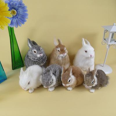 仿真兔子毛绒玩具动物模型小白兔公仔摄影道具桌面摆件儿童玩偶