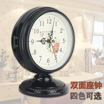 双面座钟静音卧室客厅钟表酒柜钟简约现代钟表铁艺术摆件桌坐钟