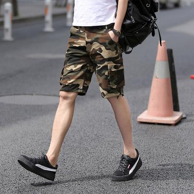 夏季迷彩裤男士短裤夏天休闲7分裤男纯棉中裤工装五分马裤多口袋