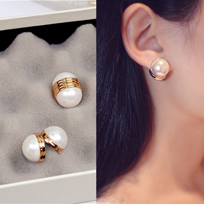 日韩双面人造珍珠磁吸耳夹简约时尚气质耳钉女耳饰品耳环0352
