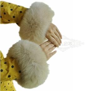 狐狸毛袖口皮草毛毛手圈毛毛护腕女袖套手环袖口手腕套拍拍貉子
