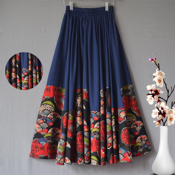 寬松藍色大擺裙