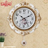 Lisheng European-style wall clock modern silent swing clock creative pastoral living room decorated wall clock bedroom clock