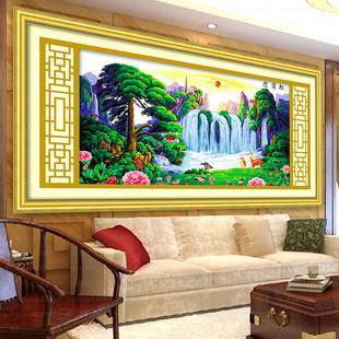 现代新款印花十字绣迎客松福禄版2.1米山水画客厅系列2米大幅风景