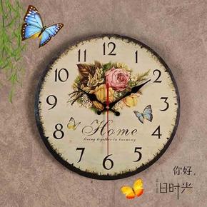 美式复古钟表挂钟客厅卧室墙面挂件装饰简约现代圆形静音时钟挂表