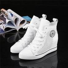 European Station Spring and Summer 2019 New Invisible Increased Hollow Air-permeable Women's Single Shoes Tide Leather Leisure High-Up Shoes