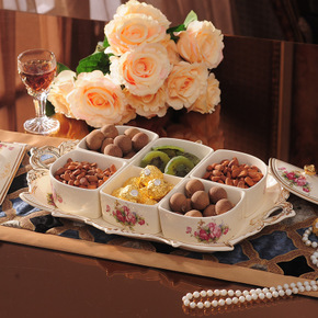 欧式陶瓷水果盘分格带盖糖果盘零食盘客厅茶几装饰摆件干果盘托盘