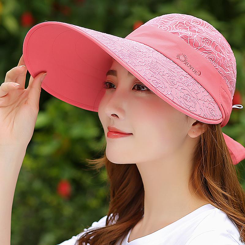 帽子女夏天韩版户外出游百搭大帽檐防晒遮阳帽防紫外线空顶太阳帽5元优惠券