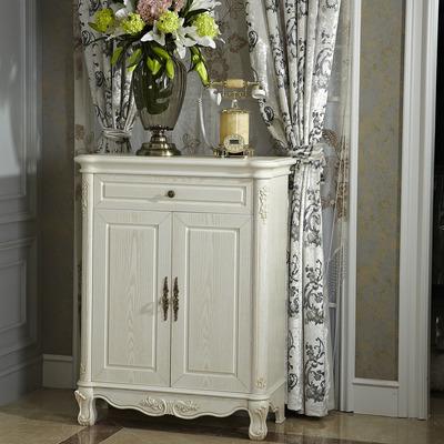 欧式鞋柜  白色田园风格家具客厅实木鞋架典雅仿古白水曲柳门厅柜