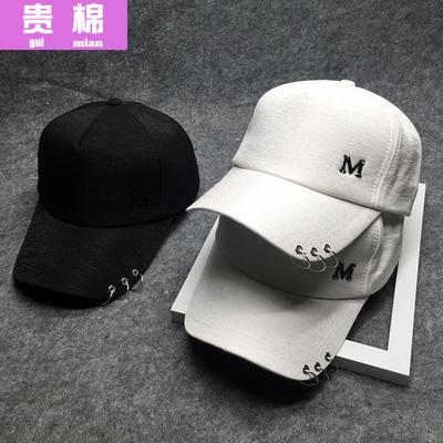 女式帽子2017新款秋季冬天百搭M铆钉遮阳三环韩版欧男鸭舌棒球帽