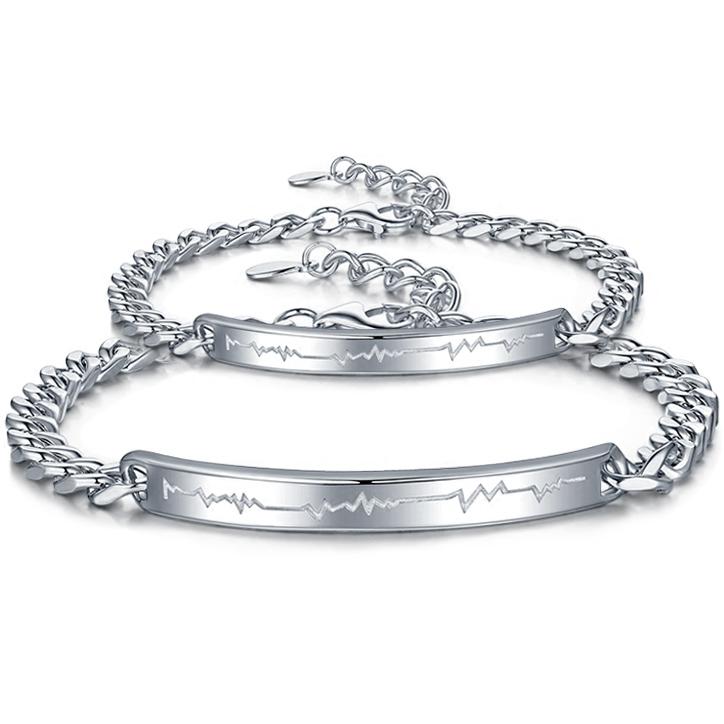灵诺美 925银饰品心跳情侣手链一对男女潮流日韩版生日礼物可刻字3元优惠券
