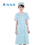 Auspicious dragon edge nurses summer short sleeve women's work clothes thin green beauty salon dental pharmacy summer white coat