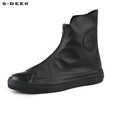 【新品】sdeer圣迪奥女设计街头感拉链女士低帮小短靴S16383902图片