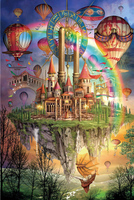 米开朗感恩回馈版椴木质成人1000片彩虹城堡拼图儿童益智玩具