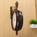 Retro European American Iron atmospheric engaging wall clock home living room duplex on both sides of the wall hanging clock watches