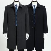 风衣大衣 商务羊绒大衣父亲装 外套 高档毛呢大衣加长款 中年男士图片