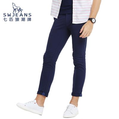 SWJEANS七匹狼休闲裤男士春季修身青年商务休闲男裤长裤针织裤子