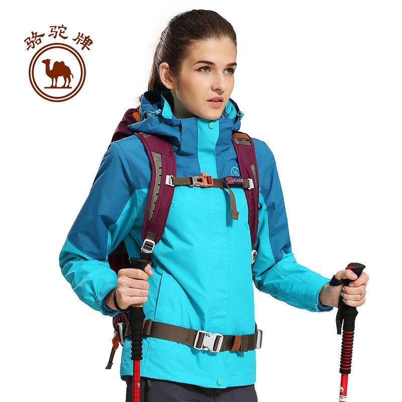 骆驼牌冬季户外防风防水保暖登山服抓绒内胆两件套三合一冲锋衣女