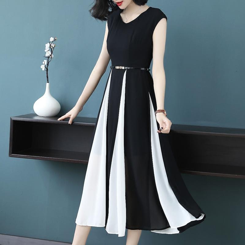 时尚黑白无袖裙