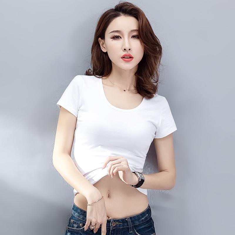 白色短袖t恤女2018新款夏季韩版百搭修身圆领体恤纯棉紧身打底衫