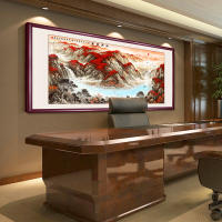 Fortune head national painting landscape painting Feng Shui back mountain figure living room decoration painting lucky office calligraphy and painting painting mural