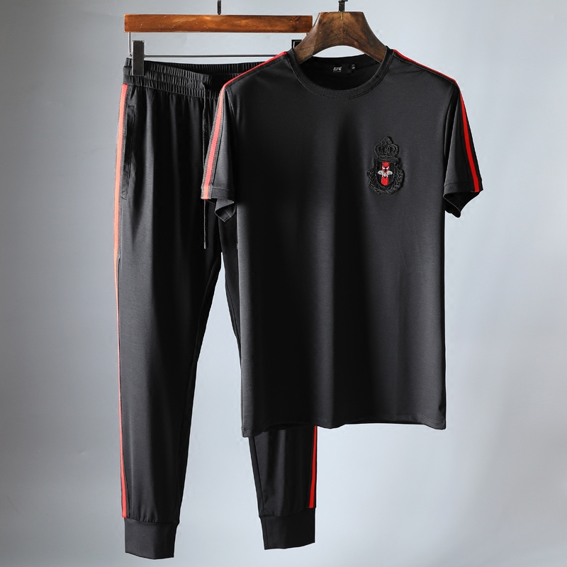 高端短袖套装时尚撞色织带皇冠蜜蜂刺绣男士修身短袖运动休闲套装