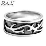 ruibeila925银简约复古唐草花纹戒指男女款个性创意泰银戒指饰品