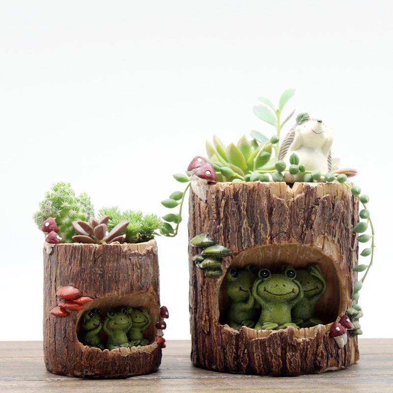 如果创意田园卡通森林树洞小盆栽个性阳台多肉花盆可爱花器装饰品1元优惠券