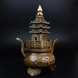 Pure copper bronze old pagoda incense burner Buddha incense incense burner Wenchang tower town mountain tower pure copper town house vertical incense sandalwood furnace