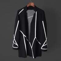 春季新品白色装饰几何条纹设计针织大开衫男士青年外套中长款上衣