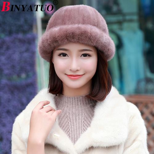 宾雅图 韩版小礼帽 水貂新款韩式小圆帽 秋冬季貂皮皮草裘皮帽子