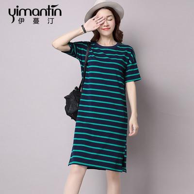 2018夏季女装宽松短袖T恤长裙打底韩版中长款纯棉条纹显瘦连衣裙