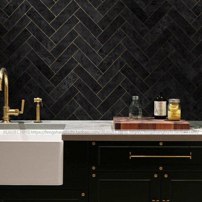 纯纸壁纸新中式环保客厅背景墙纸卧室书房几何方形美式古典