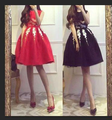 高端定制2016春装新款女装礼服裙欧美蓬蓬连衣裙名媛气质小黑裙女