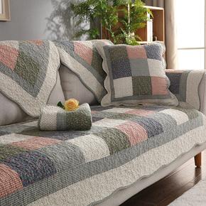 四季全棉防滑沙发垫布艺纯棉简约夏季田园坐垫组合通用皮沙发巾套