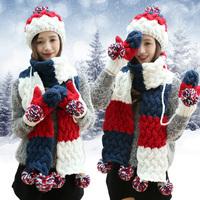 圣诞生日礼物帽子围巾手套三件套装一体围脖女冬季韩版毛线帽加厚