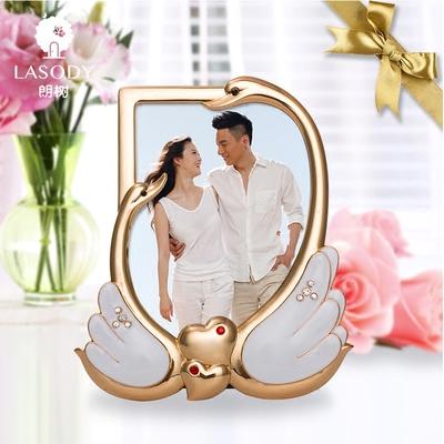 LASODY 天鹅情侣相框创意结婚礼品送女生闺蜜男生情人节七夕礼物